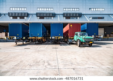 Shenzhen, China - September, 2016:Loading dock at warehouse. A warehouse is a commercial building for storage of goods.