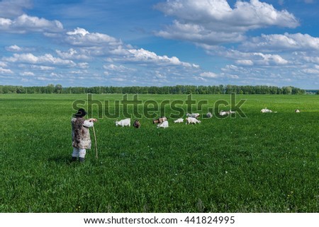 Shepherd and herd of goats on a green pasture - stock photo
