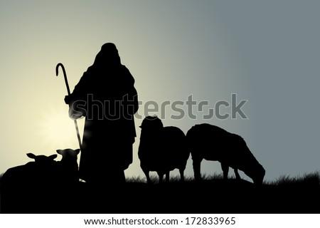 Shepherd With Sheep - stock photo