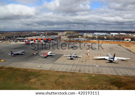 SHEREMETYEVO, MOSCOW REGION, RUSSIA - MARCH 30, 2016: Sheremetyevo international airport overview.