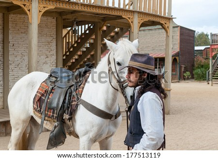 Sheriff and his horse at Mini Hollywood, Tabernas, Almeria Province, Andalusia, Spain - stock photo