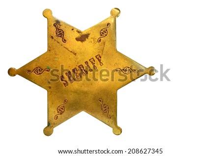 Sheriff badge isolated on white background - stock photo