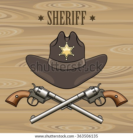 Sheriff hat and crossed revolvers. Illustration in cartoon style. - stock photo
