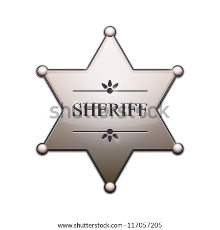 Sheriff Star with shadow isolated on white. Illustration - stock photo
