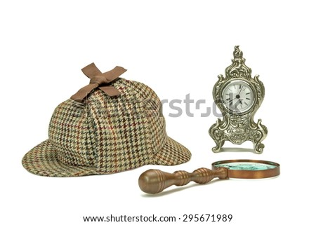 Sherlock Holmes Deerstalker Cap, Vintage Magnifying Glass And Old Clock Isolated On White Background. Investigation Concept - stock photo