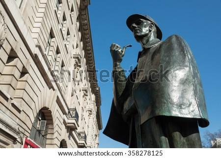 Sherlock Holmes statue outside Baker Street underground station, London, England, UK - stock photo