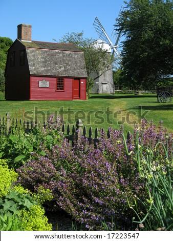 Sherman Mill, Prescott's Headquarters and Herb Garden in Middletown, Rhode Island Near Newport - stock photo