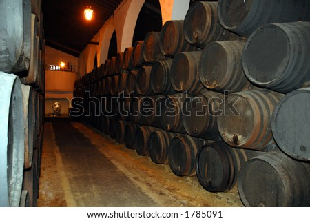 Sherry barrels are being stored in a dark, cold cellar in Jerez de la frontera, Spain.