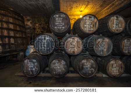 Sherry barrels in Jerez bodega, Spain - stock photo