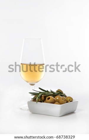 sherry wine and olives typical from the south of Spain (Andalusia) - stock photo