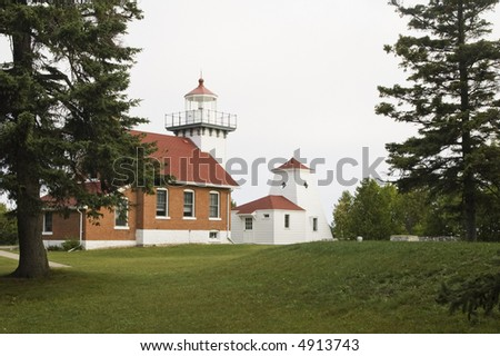 Sherwood Point lighthouse in Door county Wisconsin. summer 2007 - stock photo