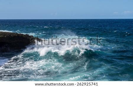 Shete Boka National park -Views around Curacao Caribbean island - stock photo