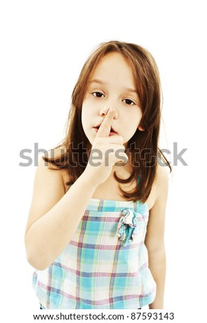 shh. secret - Young girl with her finger over her mouth
