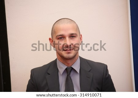 Shia LaBeouf attends a photocall for 'Man Down' during the 72nd Venice Film Festival at on September 6, 2015 in Venice, Italy. - stock photo