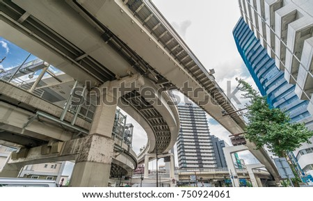 Shibuya, Shinjuku, Tokyo - August 07, 2017 : Elevated junction of Metropolitan Expressway No. 4. Shinjuku Route (Toll Road)