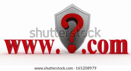 Shield and Guestion mark between www and dot com. Conception of protecting from unknown web- pages. 3d illustration on white background. - stock photo