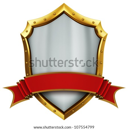 Shield and ribbon - stock photo