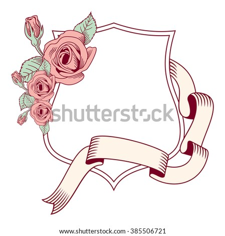 Shield and roses. Raster clip art. - stock photo