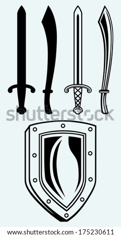 Shield and set dagger isolated on blue background. Raster version - stock photo