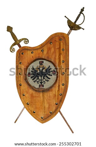 Shield and swords - stock photo