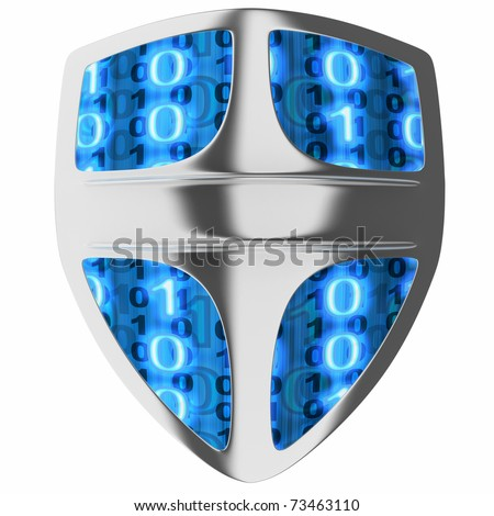 Shield computer, abstract (done in 3d, isolated) - stock photo