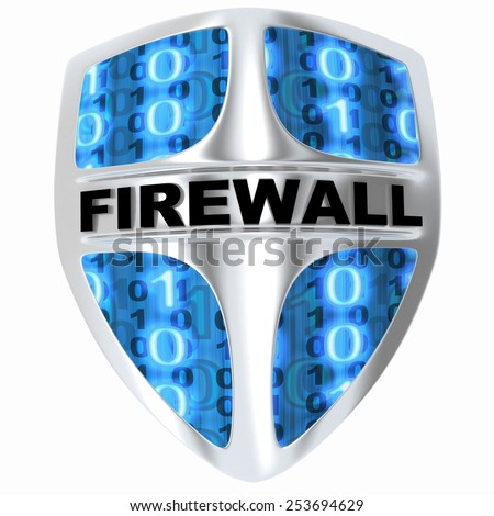 Shield computer, abstract firewall (done in 3d) - stock photo