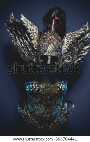Shield, fantasy warrior armor, golden armor and feathers - stock photo