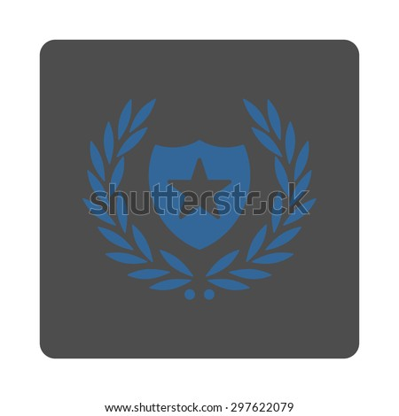 Shield icon from Award Buttons OverColor Set. Icon style is cobalt and gray colors, flat rounded square button, white background.
