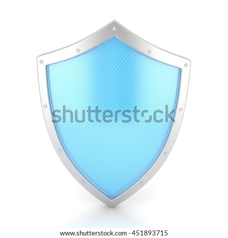 shield icon on white. 3d rendering. - stock photo