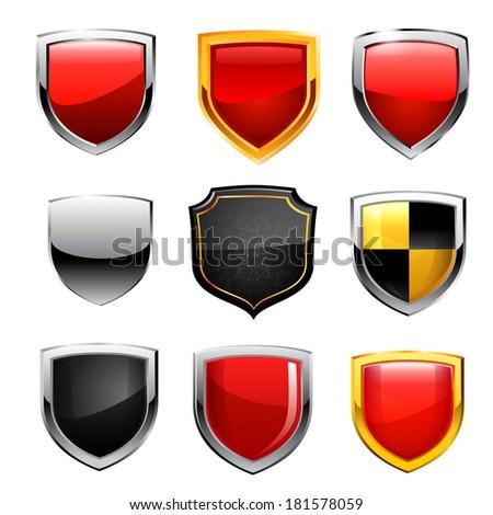 Shield icon set. Raster copy. - stock photo