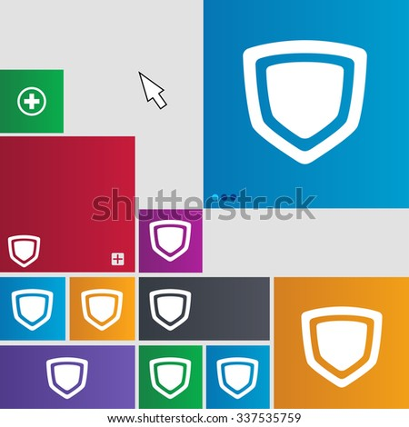 shield icon sign. buttons. Modern interface website buttons with cursor pointer. illustration