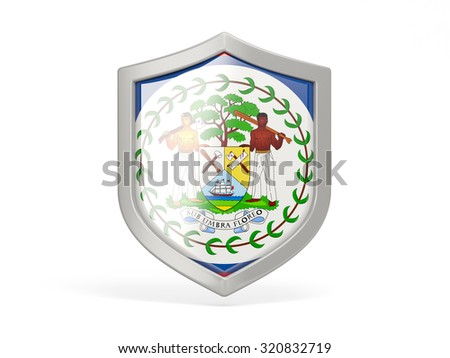 Shield icon with flag of belize isolated on white - stock photo