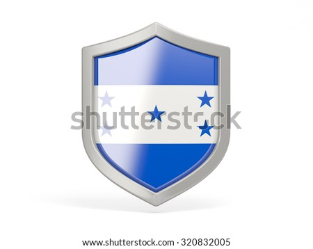 Shield icon with flag of honduras isolated on white - stock photo