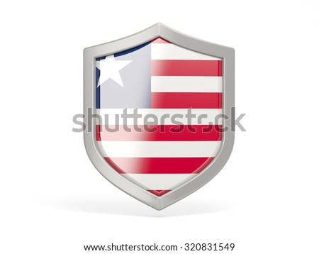 Shield icon with flag of liberia isolated on white
