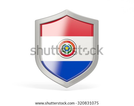 Shield icon with flag of paraguay isolated on white - stock photo