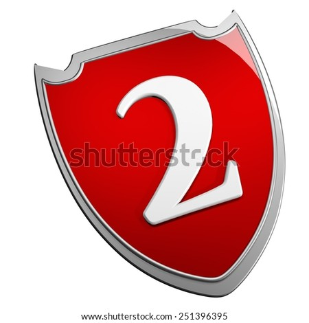Shield 2, isolated over white, 3d render - stock photo