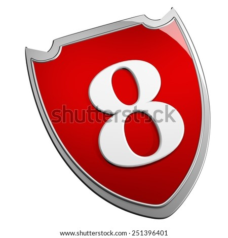 Shield 8, isolated over white, 3d render - stock photo