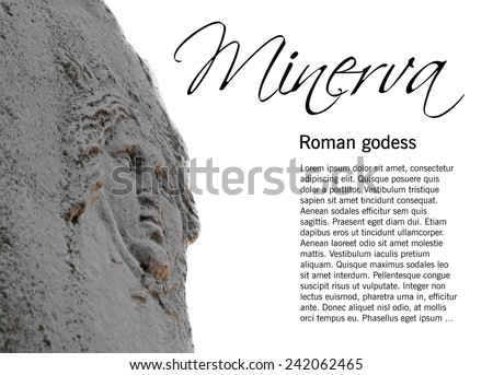 Shield on statue of the roman goddess Minerva isolated on white, selective focus,  in Ostia Antica, Rome, Italy, easy removable sample text - stock photo