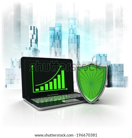 shield protection with positive online results in business district illustration - stock photo