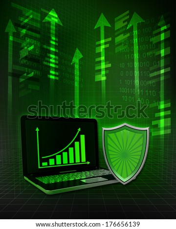 shield protection with positive online results in business illustration - stock photo