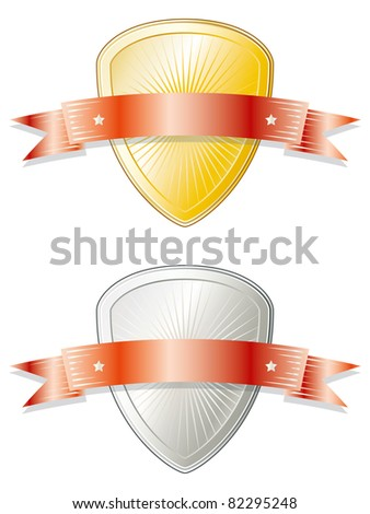 Shield shaped metal badge/seal of approval in gold and silver look with a red ribbon on top. - stock photo