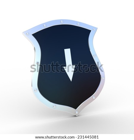 Shield with a arrow on a white background - stock photo