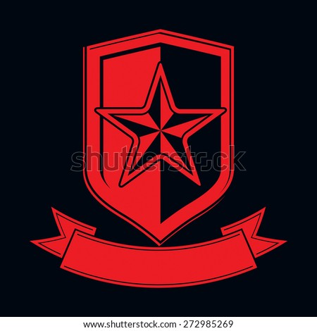 shield with a red pentagonal Soviet star, protection heraldic blazon. Military armed conceptual symbol. Ussr design element. - stock photo