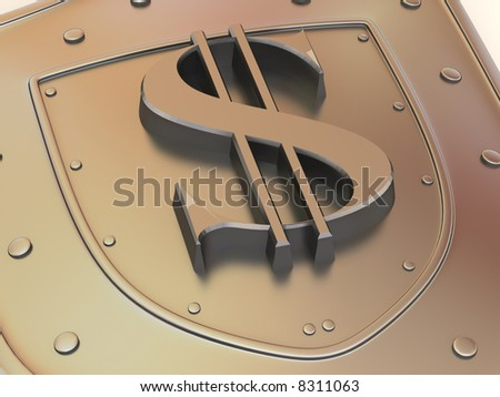 Shield with dollar. 3d