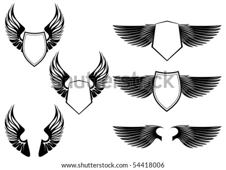 Shield with wings as a heraldic symbol for design. Vector version also available - stock photo