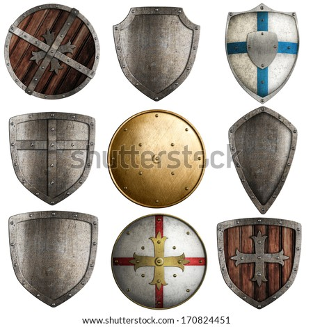 shields collection isolated on white - stock photo