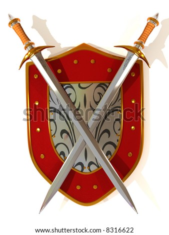 Shild with Sword. Security. 3d - stock photo