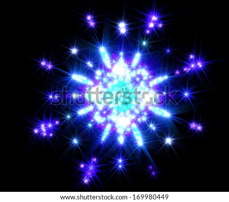 Shines and sparkles in the form snowflakes polygonal - stock photo