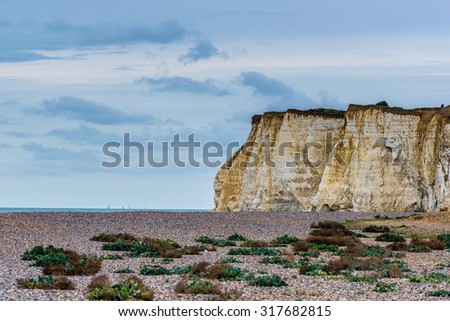 Shingle beach leading to chalk cliffs and the sea.