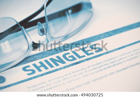 Shingles - Medicine Concept on Blue Background with Blurred Text and Composition of Glasses. Shingles - Medical Concept with Blurred Text and Specs on Blue Background. Selective Focus. 3D Rendering.